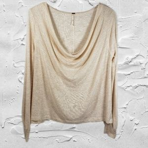 Free People Striped Long Sleeve Cowl Neck Top Sz M